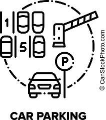 Car Parking Vector Concept Black Illustration