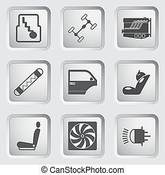 Car part and service icons set 3.