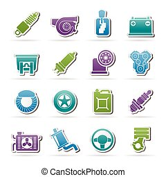 Car part and services icons