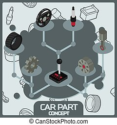 Car part color concept isometric icons