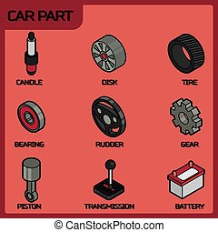 Car part color outline isometric icons