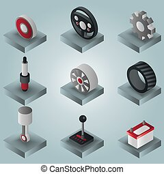 Car part gradient isometric icons