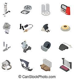 Car part icons set, isometric style