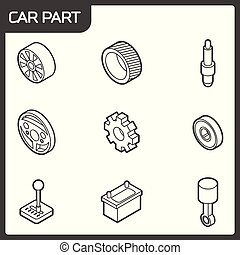 Car part outline isometric icons