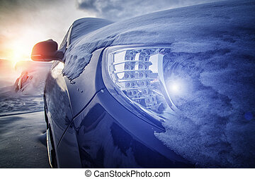 car part with a glowing lamp in the headlight
