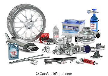 Car Parts, 3D rendering