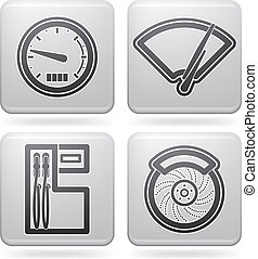 Car parts and accessories, from left to right: Speedometer,...
