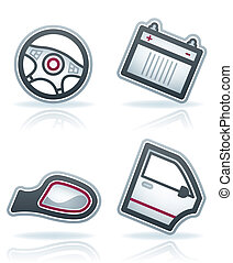 Car parts and accessories (part of the 22 Degrees Blue Icons Set) Vector icons set saved as an Adobe Illustrator version 8 EPS file format easy to edit, resize or colorize. Files are created in CMYK color space safe for prints