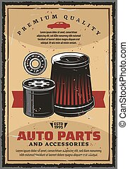 Car parts and accessories vector retro poster - Car service,...