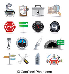 car parts and icons