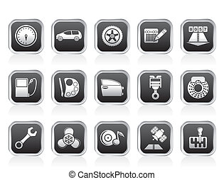 car parts and services icons - car parts, services and...