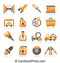 Car parts and services icons