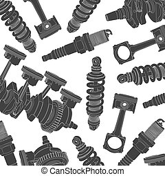 car parts background - Vector background of gray car parts...