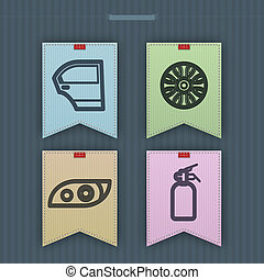 Car parts and accessories, from left to right: Car door, Rim wheel, Head lamp, Fire extinguisher. Ribbon theme vector icons set, with some transparency objects used, saved as an EPS v.10