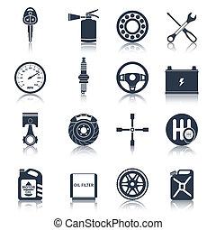 Car parts icons black