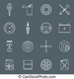 Car parts icons outline