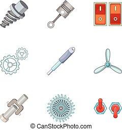 Car parts icons set, cartoon style