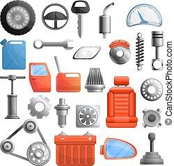 Car parts icons set, cartoon style - Car parts icons set....