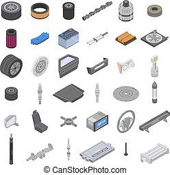 Car parts icons set, isometric style