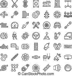 Car parts icons set, outline style