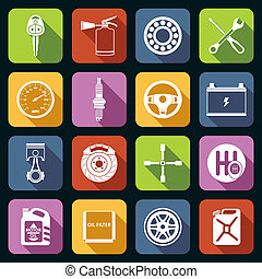 Car Parts Icons White