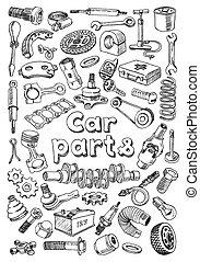Car parts in freehand drawing style with the title on the center of the sheet. Set of vector illustrations on the white background