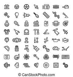 Car parts line icons set. Auto service repair symbol, gear...