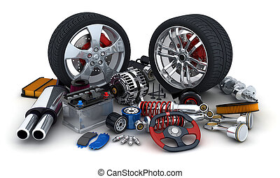 Many auto parts on white background (done in 3d)