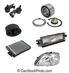 car parts on a white background