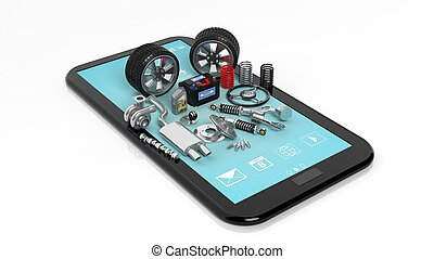 Car parts on tablet, isolated on white background