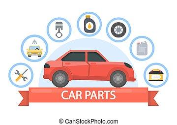 Car parts set.