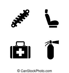Car parts. Simple Related Vector Icons