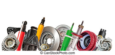 car parts - Borders of car parts. Isolated on white