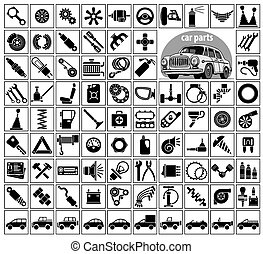 Car parts, tools and accessories. Eighty four icons and one...