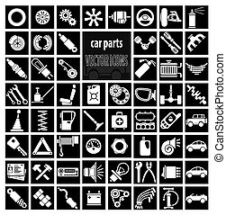 Car parts, tools and accessories. Set of vector icons