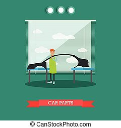 Car parts vector illustration in flat style - Vector...