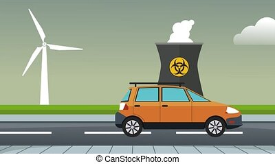 Car passing by nuclear plant HD animation - Car passing by...