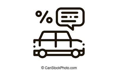Car Percent Quote Icon Animation. black Car Percent Quote animated icon on white background
