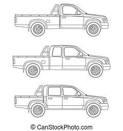 car, pickup, vetorial, caminhão, ilustração