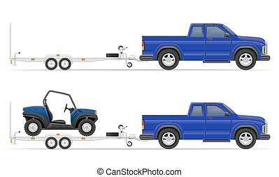 car pickup with trailer vector illustration