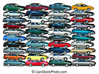 Car Pile - Cars piled up in white background