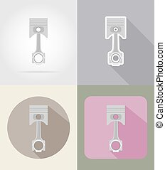 car piston flat icons vector illustration