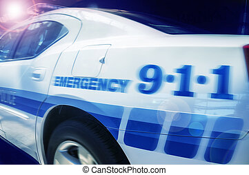 car, polícia, resposta, emergência