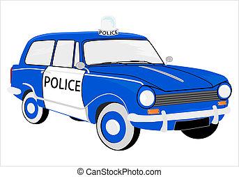 car, polícia, retro