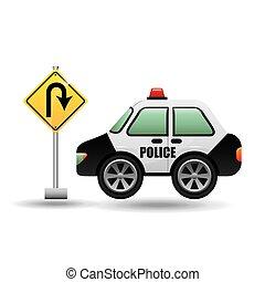 car police with u-turn road vector illustration eps 10