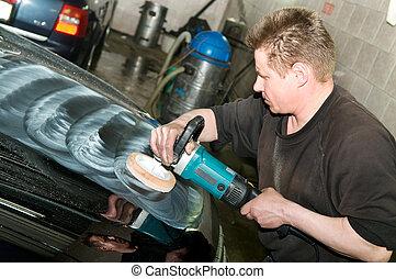 car polishing worker