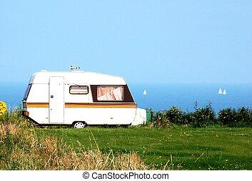 car, praia, acampamento