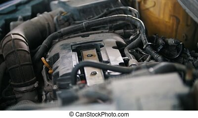 Car preparing for repairing - garage mechanical workshop,...