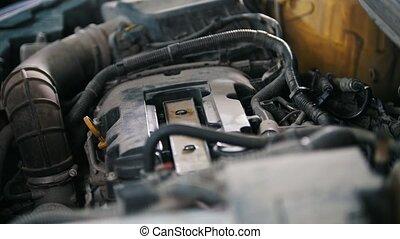 Car preparing for repairing - garage mechanical workshop,...