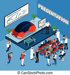Car Presentation Isometric Composition